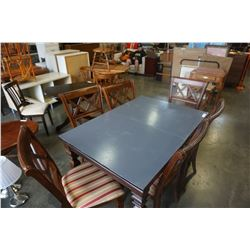MODERN PAINTED DINING TABLE W/ 6 CHAIRS
