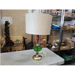 MCM WOOD AND GREEN GLASS TABLE LAMP