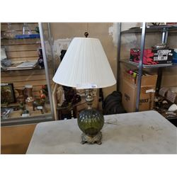 MCM BRASS AND GREEN GLASS TABLE LAMP