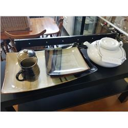 SERVING TRAY, 3 SIDE PLATES, CREAM AND SUGAR, AND TEA POT