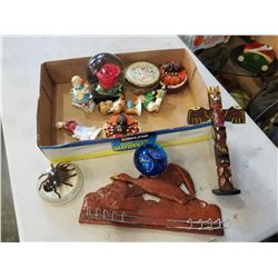 ENCASED TARANTULA, ART GLASS PAPER WEIGHTS, AND COLLECTIBLES