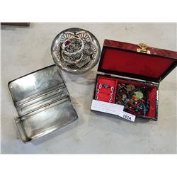 JEWELLERY BOX W/ CONTENTS, SILVER PLATE DISH W/ JEWELLERY, AND DRESSER BOX