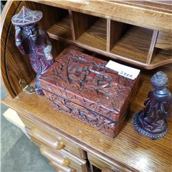 CARVED WOODEN BOX, AND 2 WOOD FIGURES