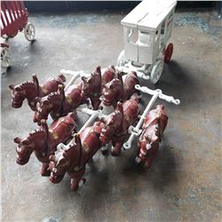 CAST IRON HORSE AND CARRIAGE W/ 8 HORSES ANTIQUE
