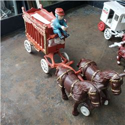 CAST IRON HORSE AND CARRIAGE W/ 2 HORSES ANTIQUE