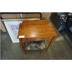 SMALL OAK 1 DRAWER DESK  AND STOOL