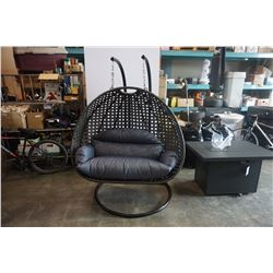 BRAND NEW MODERN RATTAN OUTDOOR DOUBLE HANGING CHAIR W/ CHARCOAL CUSHIONS - RETAIL $1949 AND RATED F