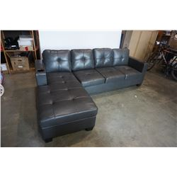 BRAND NEW GREY AIR LEATHER 2 PC SECTIONAL SOFA WITH CUPHOLDERS, AND REMOVABLE PILLOW BACKS, RETAIL $