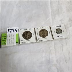 USA WAR TIME COINS 1942, 1943, SILVER 50 CENT .900 SILVER, AND 1943 ZINC LINCOLN HEAD