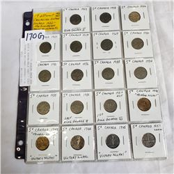 19 DIFFERENT CANADIAN NICKELS 1922 - 1951 KING GEORGE V PLUS KEY KING GEORGE VI