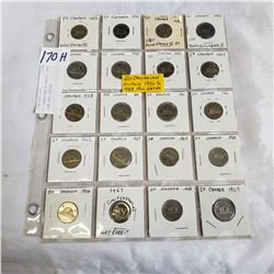 20 CANADIAN NICKELS 1950 TO 1969 ALL DATES