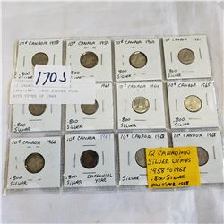 12 CANADIAN SILVER DIMES 1958-1967  .800 SILVER PLUS BOTH TYPES OF 1968