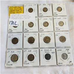USA WAR TIME COINS MERCURY DIMES 1938-1944  .900 SILVER JEFFERSON NICKELS, 1943-44  .350 SILVER AND