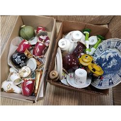 LOT OF CHINA CUPS, SAUCERS, SALT AND PEPPERS, AND LIDDED DISHES