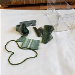 BC JADE CARVINGS, PIECES, AND NECKLACE