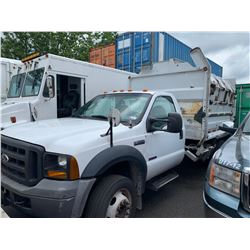 2006 FORD 550 XL SUPERDUTY 2DR, GARBAGE TRUCK, WHITE , VIN # 1FDAF56P66EB32949