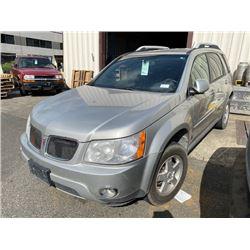 2007 PONTIAC TORRENT, 4DR SUV, GREY, VIN # 2CKDL63F576062337