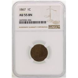 1867 Indian Head Cent Coin NGC AU55 BN