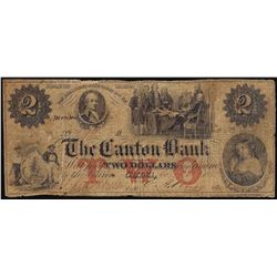 1855 $2 The Canton Bank China, ME Obsolete Banknote