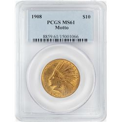 1908 $10 Indian Head Eagle Gold Coin PCGS MS61