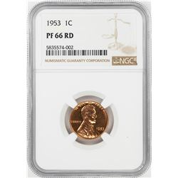 1953 Proof Lincoln Wheat Cent Coin NGC PF66RD
