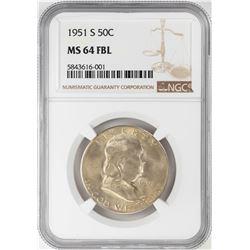 1951-S Franklin Half Dollar Coin NGC MS64FBL