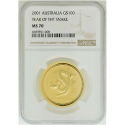 2001 $100 Australia Year of the Snake Gold Coin NGC MS70