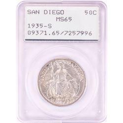 1935-S San Diego Commemorative Half Dollar Coin NGC MS65 Green Rattler Holder