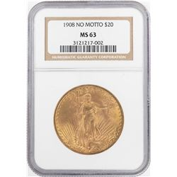 1908 No Motto $20 St. Gaudens Double Eagle Gold Coin NGC MS63
