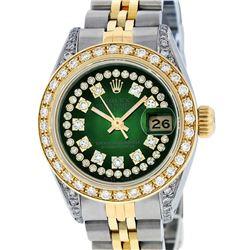 Rolex Ladies Two Tone 14K Green Vignette Diamond Lugs 26MM Datejust Wristwatch
