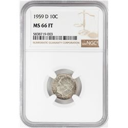 1959-D Roosevelt Dime Coin NGC MS66FT