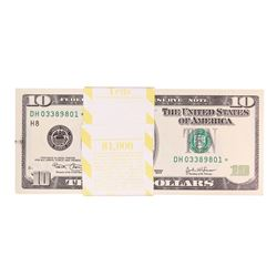 Pack of (100) Consecutive 2003 $10 Federal Reserve STAR Notes Minor Ink Smear