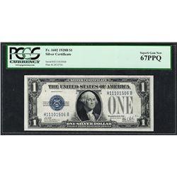 1928B $1 Funnyback Silver Certificate Note Fr.1602 PCGS Superb Gem New 67PPQ