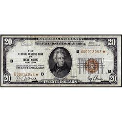 1929 $20 Federal Reserve Bank STAR Note New York