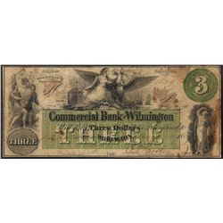 1859 $3 Commercial Bank Of Wilmington, NC Obsolete Bank Note