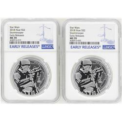 Lot of (2) 2018 Niue $2 Star Wars Stormtrooper Silver Coins NGC MS70 Early Releases