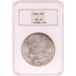 1887 $1 Morgan Silver Dollar Coin NGC MS65 Nice Toning Old Holder