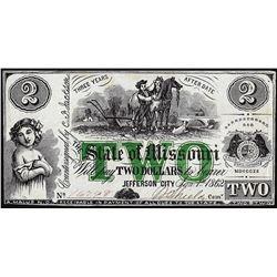 1862 $2 State of Missouri Jefferson City Obsolete Note