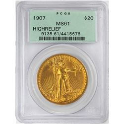 1907 High Relief $20 St. Gaudens Double Eagle Gold Coin PCGS MS61 OGH