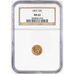 1853 Type 1 $1 Liberty Head Gold Dollar Coin NGC MS62
