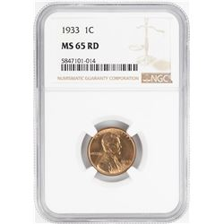 1933 Lincoln Wheat Cent Coin NGC MS65RD