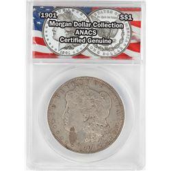 1901 $1 Morgan Silver Dollar Coin ANACS Certified Genuine