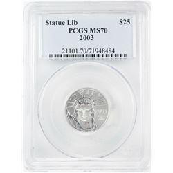 2003 $25 American Platinum Eagle Coin PCGS MS70
