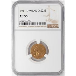 1911-D Weak D $2 1/2 Indian Head Quarter Eagle Gold Coin NGC AU55