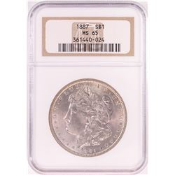 1887 $1 Morgan Silver Dollar Coin NGC MS65 Old Holder