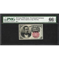 1874 10 Cent Fifth Issue Fractional Currency Note Fr.1265 PMG Gem Uncirculated 66EPQ
