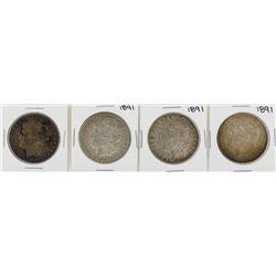 Lot of (4) 1891 $1 Morgan Silver Dollar Coins