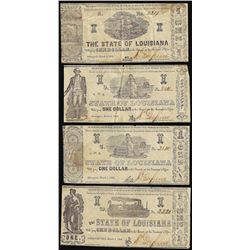 Lot of (4) 1864 $1 State of Louisiana Obsolete Notes