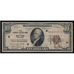 1929 $10 National Currency New York New York Note
