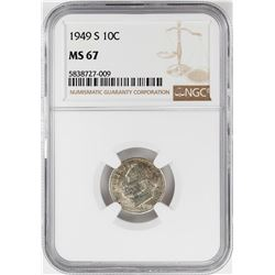 1949-S Roosevelt Dime Coin NGC MS67